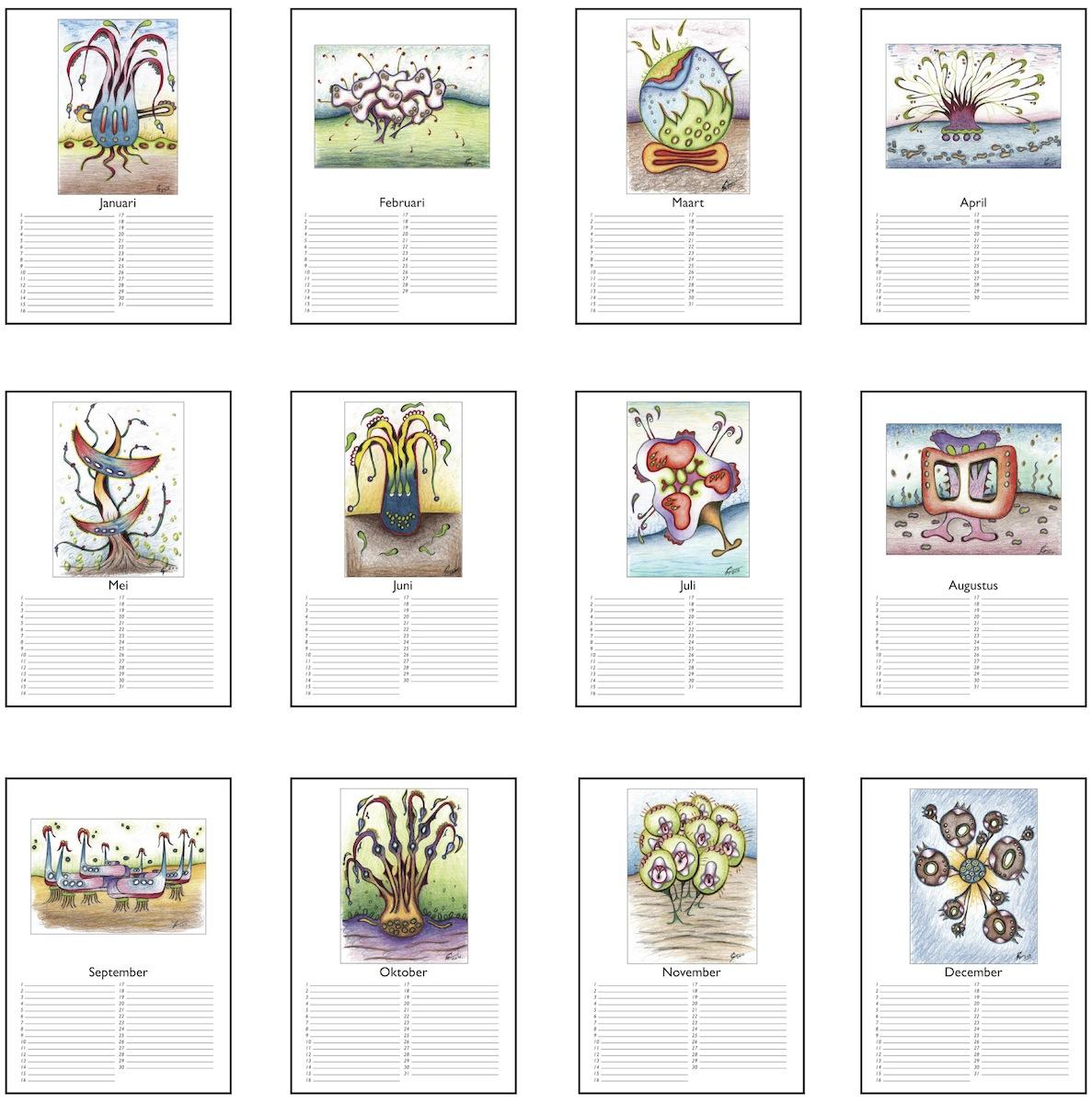 kalender maken en drukken ontwerp zelf online autos post